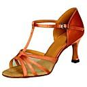 preiswerte Latein Schuhe-Damen Schuhe für den lateinamerikanischen Tanz Satin Absätze Keilabsatz Maßfertigung Tanzschuhe Schwarz / Knackmandel / Leopard