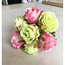 hesapli Çalar Saatler-Yapay Çiçekler 1 şube Klasik Avrupa Pastoral Stil Güller Masaüstü Çiçeği