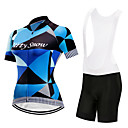 cheap Cycling Jersey & Shorts / Pants Sets-FirtySnow Women's Short Sleeve Cycling Jersey with Bib Shorts White Black Argyle Bike Clothing Suit Breathable Moisture Wicking Quick Dry Sports Polyester Argyle Mountain Bike MTB Road Bike Cycling