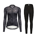 cheap Cycling Jerseys-FirtySnow Women's Long Sleeve Cycling Jersey with Tights Black Leaf Floral Botanical Bike Clothing Suit Thermal / Warm Windproof Fleece Lining Winter Sports Polyester Leaf Mountain Bike MTB Road Bike
