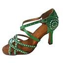 رخيصةأون أحذية لاتيني-نسائي ستان أحذية رقص تفاصيل كريستال / بريق كعب نحيفة عالية الكعب مخصص أحمر فاتح / أخضر / أزرق / أداء / جلد