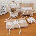 halpa Bell & Lukot & Mirrors-Wedding Guestbook / Pen Set / Ring Pillow Kanssa Pitsi Puuvilla / pellava