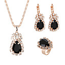 cheap Jewelry Sets-Women's Crystal Classic Jewelry Set Rhinestone Classic, Elegant Include Drop Earrings Pendant Necklace Bridal Jewelry Sets Open Ring Red / Green / Blue For Wedding Ceremony Festival