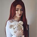 halpa Synteettiset peruukit verkolla-Synteettiset pitsireunan peruukit Kinky Straight / Luonnollinen suora Tyyli Kerroksittainen leikkaus Lace Front Peruukki Ruskea Beige Synteettiset hiukset 24 inch Naisten Naisten Ruskea Peruukki Pitkä