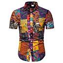 hesapli Erkek Gömlekleri-Erkek Pamuklu Gömlek Desen, Kabile Büyük Bedenler Gökküşağı / Kısa Kollu