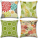 cheap Pillow Covers-4 pcs Cotton / Linen Pillow Cover Pillow Case, Geometric Pattern Flower / Floral Geometric Pastoral