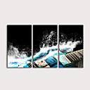 hesapli Tablolar-Boyama Haddelenmiş Kanvas Tablolar Gerdirilmiş Tuval Resimleri - Fantezi Müzik Modern Üç Panelli Sanatsal Baskılar