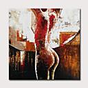 povoljno Apstraktno slikarstvo-Hang oslikana uljanim bojama Ručno oslikana - Ljudi Mustard Klasik Moderna Uključi Unutarnji okvir