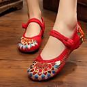 זול נעלים שטוחות לנשים-בגדי ריקוד נשים קנבס אביב שטוחות שטוח שחור / אדום / ירוק