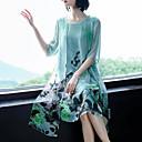 hesapli Kadın Düz Ayakkabıları ve Makosenleri-Kadın's Büyük Bedenler Pamuklu Şifon Elbise - Çiçekli, Desen Diz-boyu