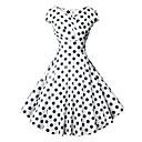 povoljno Stare svjetske nošnje-Žene Vintage 1950-te A kroj Haljina - Print Zamotajte, Na točkice V izrez Do koljena
