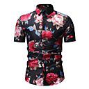 abordables Camisas de Hombre-Hombre Activo / Básico Algodón Camisa, Cuello Inglés Geométrico Blanco XL / Manga Corta