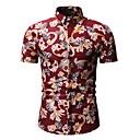 abordables Camisas de Hombre-Hombre Estampado - Algodón Camisa Floral / Geométrico / Animal Azul Piscina XL