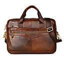 cheap Men's Bracelets-Men's Bags Cowhide Briefcase Zipper Solid Color Black / Brown