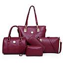 povoljno Komplet torbi-Žene Patent-zatvarač PU Bag Setovi Jedna barva 5 kom Crn / Braon / Blushing Pink