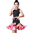 baratos Roupas Infantis de Dança-Dança Latina / Roupas de Dança para Crianças Vestidos Para Meninas Espetáculo Fibra Sintética Franzido / Combinação Sem Manga Alto Vestido