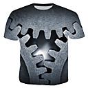 billige Herrekjeder-Bomull Rund hals T-skjorte Herre - 3D, Trykt mønster Grå