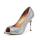 abordables Zapatos de Boda-Mujer Cuero Patentado Primavera & Otoño Zapatos de boda Tacón Stiletto Punta abierta Pedrería Arco Iris / Boda / Fiesta y Noche