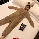 cheap Kigurumi Pajamas-Adults' Hoodie Kigurumi Pajamas Deer Onesie Pajamas Flannel Fabric Coffee Cosplay For Men and Women Animal Sleepwear Cartoon Festival / Holiday Costumes