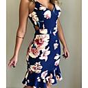 baratos Cortinas de Banho-Mulheres Feriado Bandagem Praia Tubinho Sereia Vestido - Floral Decote V Acima do Joelho