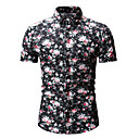 levne Pánské košile-Pánské - Květinový / Geometrický Košile, Tisk Bavlna Černá XL