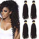 halpa Aitohiusperuukit-4 pakettia Brasilialainen Kinky Curly Käsittelemätön aitoa hiusta 100% Remy Hair Weave -paketit Headpiece Hiukset kutoo Bundle Hair 8-28 inch Luonnollinen Hiukset kutoo Hajuton Mielitietty Paras laatu