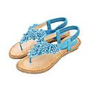hesapli Kadın Sandaletleri-Kadın's Ayakkabı PU Yaz Tatlı Sandaletler Düz Taban Açık Uçlu Günlük / Kumsal için İnci Mavi / Pembe / Badem