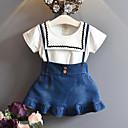 preiswerte Kleidersets für Mädchen-Kinder Mädchen Aktiv / Street Schick Patchwork Rüsche / Patchwork Kurzarm Standard Kunstseide Kleidungs Set Blau
