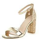 hesapli Kadın Sandaletleri-Kadın's Ayakkabı PU Yaz Sandaletler Kalın Topuk Açık Uçlu Düğün / Parti ve Gece için Taşlı / Payet / Toka Altın / Gümüş