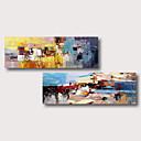 levne Abstraktní malby-ručně malované natažené olejomalba plátno připraven k zavěšení abstraktní styl materiál vysoce kvalitní modrá fialová červená