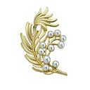 povoljno Moderni broševi-Žene Broševi Leaf Shape Stilski Luksuz Imitacija bisera Broš Jewelry Zlato Za Božić diplomiranje Dnevno