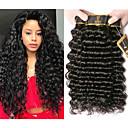 halpa Aitohiusperuukit-4 pakettia Brasilialainen Syvät aallot 100% Remy Hair Weave -paketit Hiukset kutoo Pidentäjä Bundle Hair 8-28 inch Luonnollinen väri Hiukset kutoo Hajuton Luova Silkkinen Hiukset Extensions Naisten