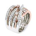 povoljno Kentucky Derby Hat-Žene Bijela Kubični Zirconia Pasijans Zaručnički prsten Pozlaćeni Luksuz Modno prstenje Jewelry Obala / Rose Gold Za Vjenčanje Angažman