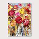 halpa Abstraktit maalaukset-Hang-Painted öljymaalaus Maalattu - Abstrakti Kukkakuvio / Kasvitiede Klassinen Moderni Ilman Inner Frame