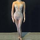 economico Costumi di danza-Costumi di danza Abbigliamento da ballo esotico / Tute da sera Per donna Prestazioni Elastene Cristalli / Strass Manica lunga Calzamaglia / Pigiama intero