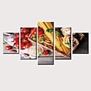 preiswerte Kunstdrucke-Druck Gerollte Leinwand Aufgespannte Leinwandrucke - Stillleben Lebensmittel Retro Modern Fünf Panele Kunstdrucke