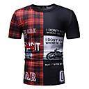 abordables Jouets Aimantés-Tee-shirt Taille EU / US Homme, Tartan / Lettre - Coton Mosaïque / Imprimé Col Arrondi Bleu XL