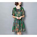 cheap Clutches & Evening Bags-Women's Elegant Shift Dress - Geometric Lace Green Gray XXXL XXXXL XXXXXL