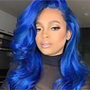 ieftine Peruci Dantelă Sintetice-Lănțișoare frontale din sintetice Stil Ondulat Stil Frizură în Straturi Față din Dantelă Perucă Albastru Bleumarin Păr Sintetic 24 inch Pentru femei Dame Albastru Perucă Lung Sylvia 130% Human