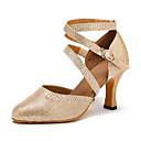 זול נעלי ריקודים ונעלי ריקוד מודרניות-בגדי ריקוד נשים נעלי ריקוד דמוי עור נעליים מודרניות עקבים עקב קובני מותאם אישית זהב / כסף / הצגה / אימון