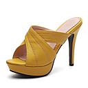 billige Sandaler til damer-Dame PU Sommer Klassisk / Britisk Sandaler Konisk hæl Åben Tå Sort / Gul / Mandel / Fest / aften