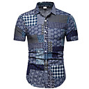 hesapli Erkek Gömlekleri-Erkek İnce - Gömlek Ekose / Kabile Koyu Mavi / Kısa Kollu