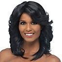 cheap Synthetic Lace Wigs-Synthetic Wig / Bangs Curly / Spiral Curl Style Side Part Capless Wig Black Black / Gold Synthetic Hair 18 inch Women's Classic / Women / Side Part Black Wig Medium Length Natural Wigs