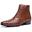 זול מגפיים לגברים-בגדי ריקוד גברים Fashion Boots עור נאפה Leather סתיו חורף קלסי / יום יומי מגפיים שמור על חום הגוף מגפיים באורך אמצע - חצי שוק שחור / חום