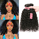halpa Aitohiusperuukit-4 pakettia Brasilialainen Kinky Curly 100% Remy Hair Weave -paketit Headpiece Hiukset kutoo Bundle Hair 8-28 inch Luonnollinen väri Hiukset kutoo Hajuton Turvallisuus Silkkinen Hiukset Extensions