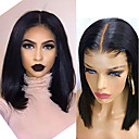 cheap Synthetic Lace Wigs-Human Hair Capless Wigs Human Hair Straight Short Bob Style Party / Women / Best Quality Short 6x13 Closure Wig Brazilian Hair Women's