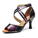 hesapli Latin Dans Ayakkabıları-Kadın's Suni Deri Latin Dans Ayakkabıları Topuklular Kıvrımlı Topuk Kişiselleştirilmiş Siyah / Performans / Egzersiz
