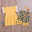 رخيصةأون أطقم ملابس البنات-مجموعة ملابس قطن كم قصير طباعة ورد أساسي للفتيات أطفال