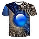 cheap Men's Boots-Men's Street chic / Punk & Gothic Plus Size T-shirt - Geometric / 3D Print Round Neck Royal Blue XXXXL