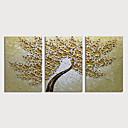 זול ציורי פרחים/צמחייה-ציור שמן צבוע-Hang מצויר ביד - פרחוני / בוטני מודרני כלול מסגרת פנימית / שלושה פנלים
